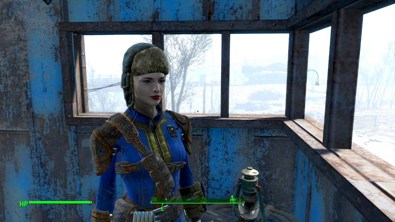Molly the vault dweller, wearing her new-found ushanka in the Starlite Drive projection booth
